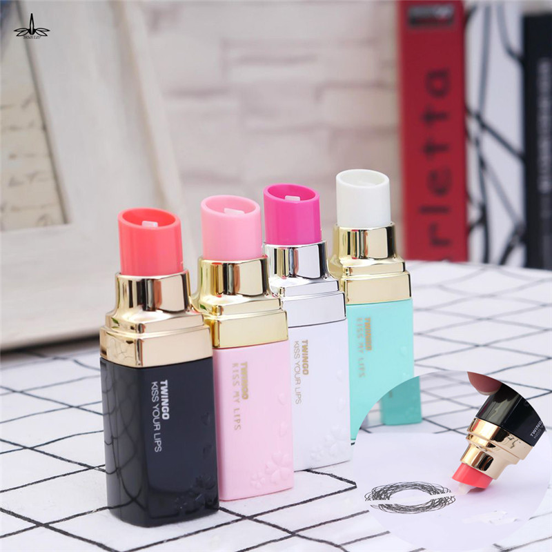 Random Color Lipstick Shape Correction Tape Material Escolar Kawaii Stationery Office School Supplies Papelaria For Girls Gift