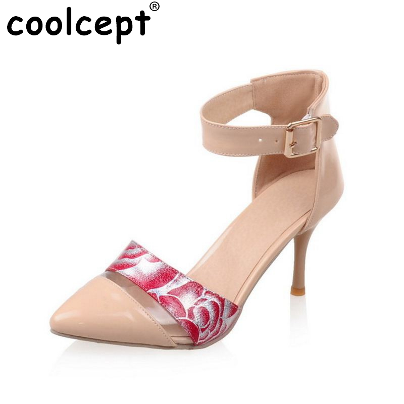 size 32-45 women high heel print leather sandals pointed toe sexy party women ankle strap heeled footwear heels shoes P23493 egonery flat sandals woman handmade genuine leather low heel pointed toe shoes cross tied shoes ankle strap big size flats 32 43