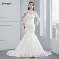Lover Kiss Robe De Mariee 2018 White 2 in 1 Wedding Dress Long Sleeve Lace Two Piece Strapless Mermaid Wedding Gowns with Jacket
