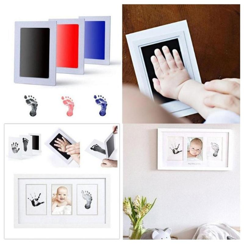 Unisex Baby Non-Toxic Handprint Footprint Imprint Kit Baby Souvenirs Casting Newborn Footprint Ink Pad Infant Clay Toy Gifts infant baby children handprint footprint white contracted hanging wall photo frame christmas gifts for children scale 3 5