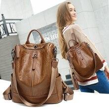 Mochila feminina casual e multifuncional de couro, bolsa de ombro feminina, casual e de viagem, 2020