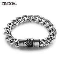 ZINDOV Jewelry Bracelet Men Stainless Steel Link Chain Trendy Punk Cross Skull Black Crystal Magnetic Clasp