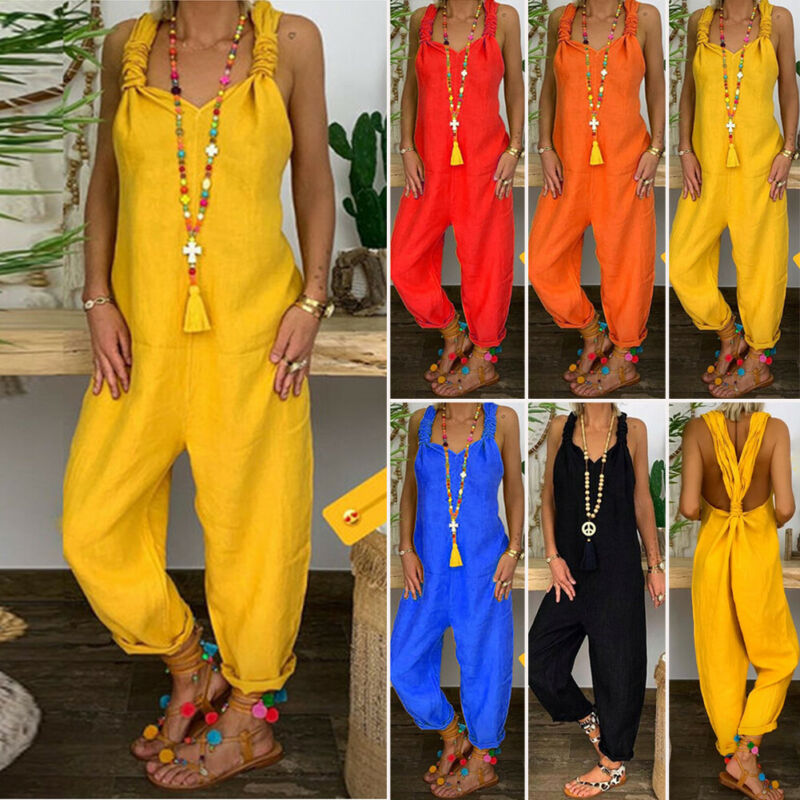 Solid Color New Fashion Women Cotton Jumpsuit High Waist Female Women Summer Casual Sleeveless Playsuit Loose Wide Leg Trousers