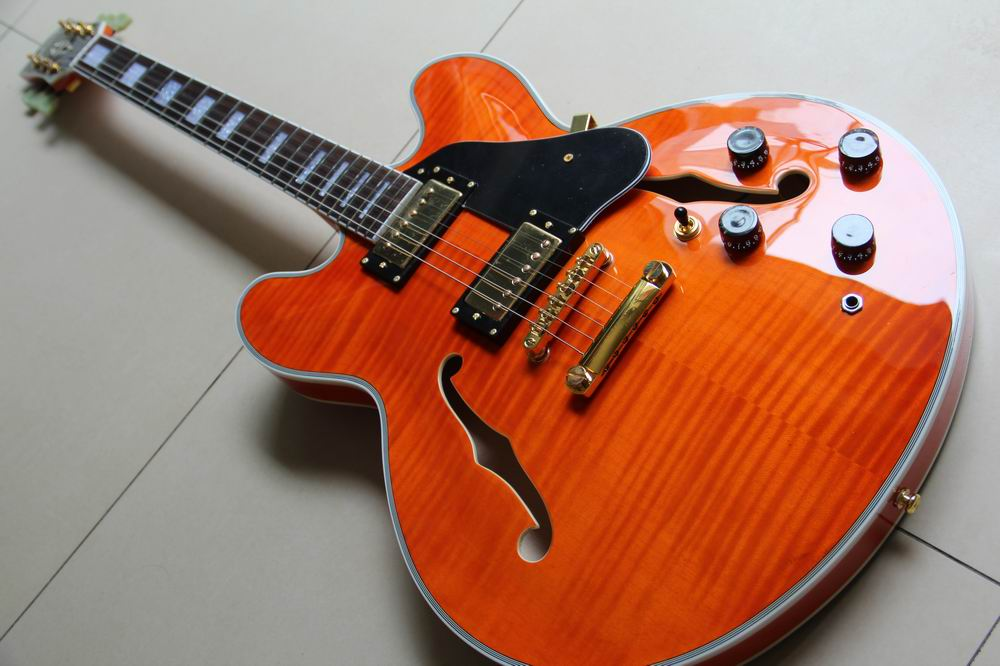Wholesale ES335 Guitar Semi Hollow Body electric guitar ES 335 in orange 120528 wholeslale dave grohl dg335 es 335 6 string electric guitar with great logo es 335 in white 100913