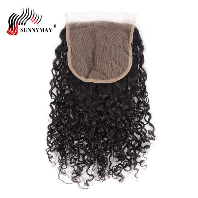 Sunnymay 5x5 Lace Closure Indian Curly Human Hair Bleached Knots With Baby Hair Free Part