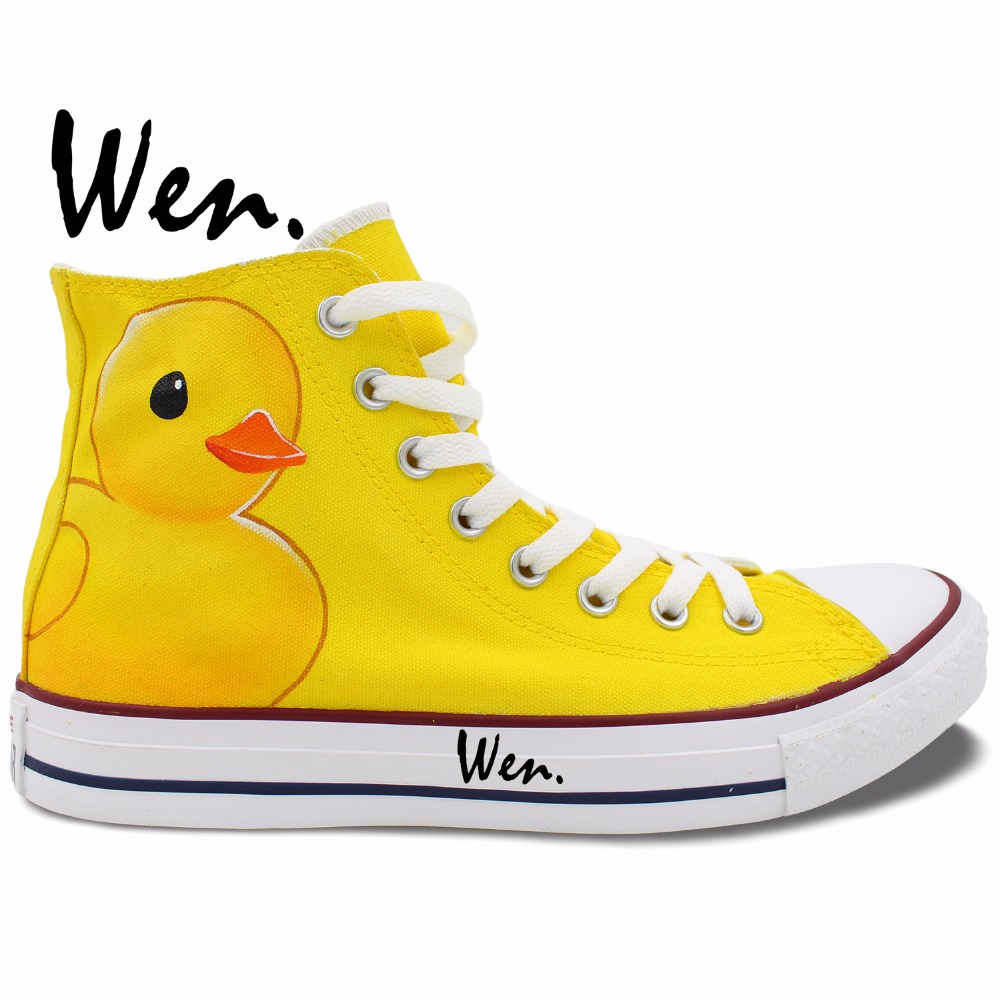 Wen Custom Design Cute Cartoon Yellow Duck Hand Painted Skateboard Shoes High Top Unique Presents Canvas Clause Unisex Sneakers wen original high top sneakers steam punk hand painted unisex canvas shoes design custom boys girls athletic shoes gifts