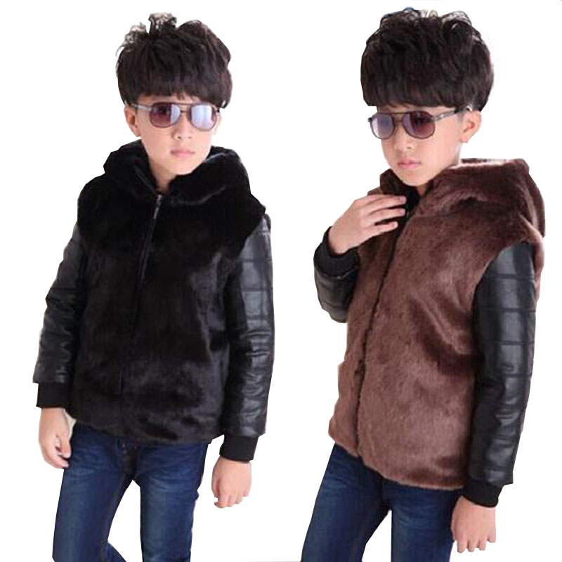 ФОТО Kids Faux Fur Coats Kids Clothes Winter Fur Coat For boys Baby Clothes Parka Clothing For Girl Outerwear Luxury Faux Fur 1-13 Y
