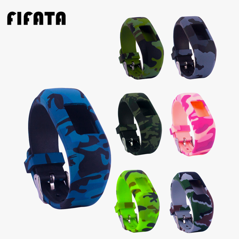 FIFATA For Garmin Vivofit JR/JR 2  Camouflage Cute Silicone Strap Children Smart Band Replacement Soft Silicone Wristband Part