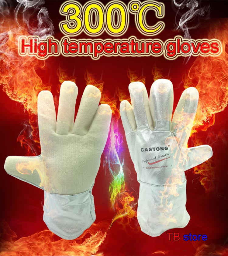 CASTONG 300 degree High temperature gloves Aluminum foil & aramid Anti-scalding gloves High temperature resistant gloves цена