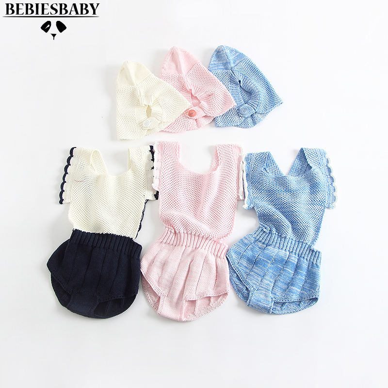 New Baby Girls Rompers Hat Ruffle Edged Bib,Adjustable Straps with Horn Button Closure Princess Girl Sweet Knitted Infant Romper