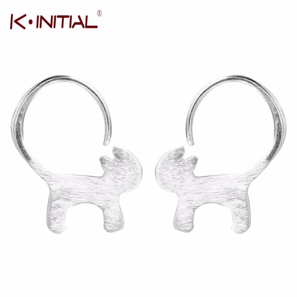 Kinitial 925 Sterling Silver Cute Long Tailed Cat Earrings For Women Girl  Lovely Kitty Stud Earrings Sterlingsilverjewelry