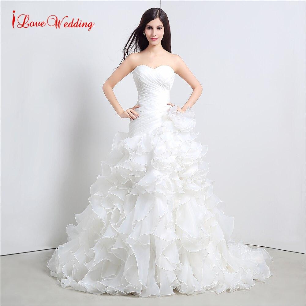 In Stocks Fashion Organza Ruffle Wedding Dress Vestido De Novia ...