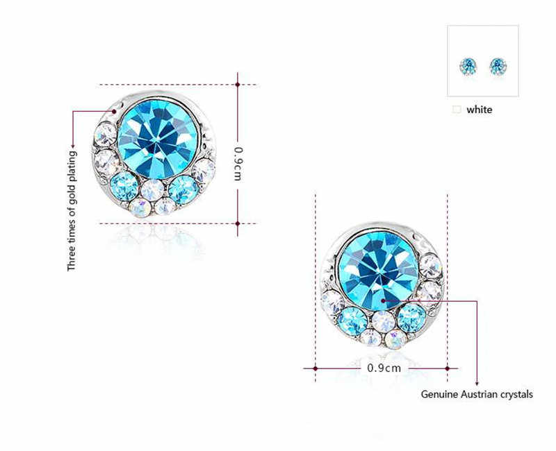 2018 Modyle fashion girls Blue Crystal earrings ,earrings for elegant women party,Nickeless,wholesale,Christmas/birthday gifts