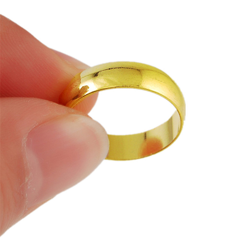 <font><b>ANDARA</b></font> High Quality Women Men Rings Gold Color Wedding Ring Round Smooth Anillos Rings R018 image