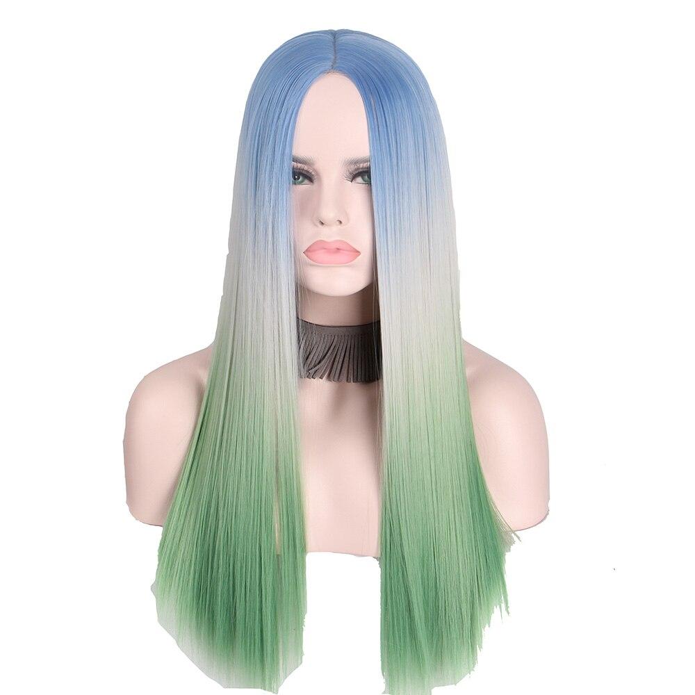 Anxin парик прямо длинные Градиент 3 Цветной сине-белые зеленый Косплэй Ombre волос Синтетический парик для вечерние синий, серый зеленый
