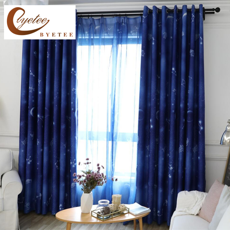 Byetee Modern Living Room Luxury Window Curtains Striped: [byetee] Star Window Curtain Cloth Shading Bedroom Living