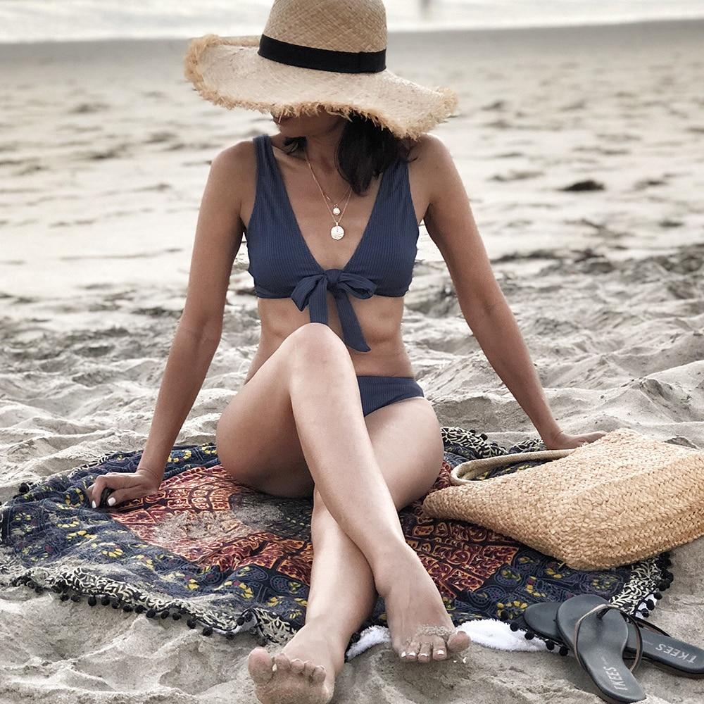 CUPSHE Deep Love Solid Bikini Set Women Blue Summer V-neck Bow Thong Two Pieces Swimsuit 2020 Beach Bathing Suit Swimwear 2