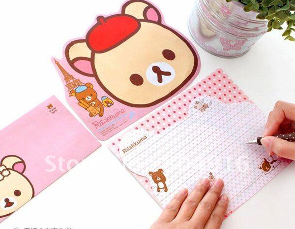 Cute bear envelop letter paper set 4 envelops 2 for Cute paper designs
