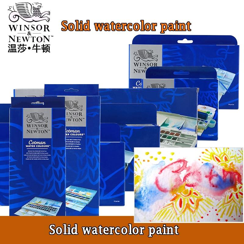 WINSOR&NEWTON Solid Pigment Watercolor Paint 8/12/24/36/45 Color Cotman Senior Water Color Art Drawing Supplies Half Pans  Mini