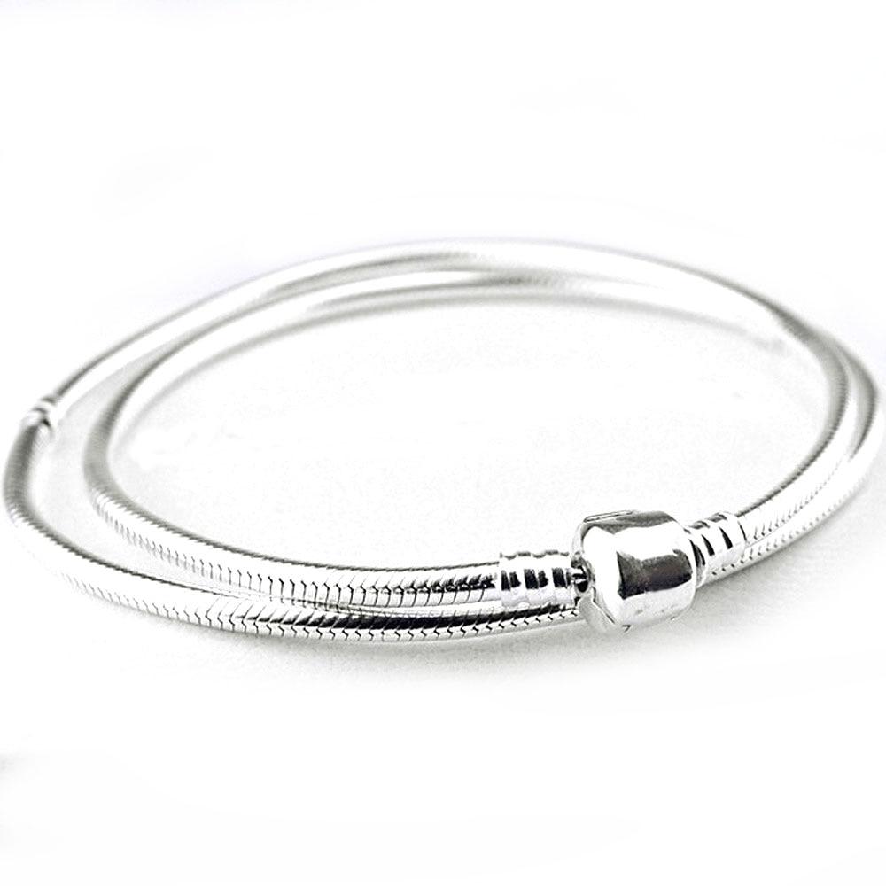 Authentique 925 collier en argent Sterling homard baril fermoir serpent chaîne collier pour les femmes cadeau de mariage bijoux Pandora Fine
