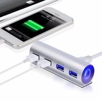 4 Ports USB 3.0 USB HUB 4 USB High-speed Splitter Portable Data Cable With LED Blue Light Speed 4 Port Splitter Hub Adapter