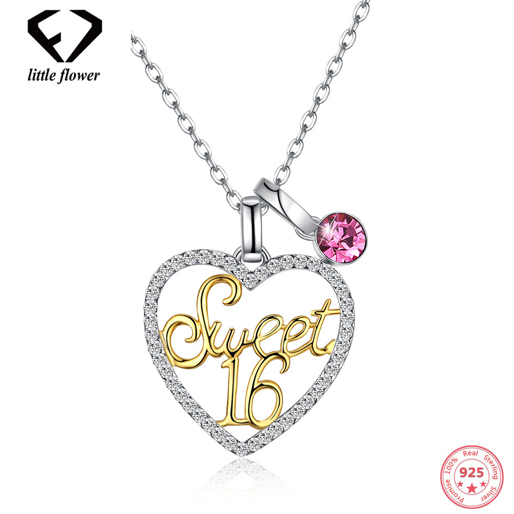 Austria Crystal Style Necklace 925 Heart-Shaped with Age 16 Bead Clavicle Chain Sterling 925 Silver European America Trendy Type купить в Москве 2019
