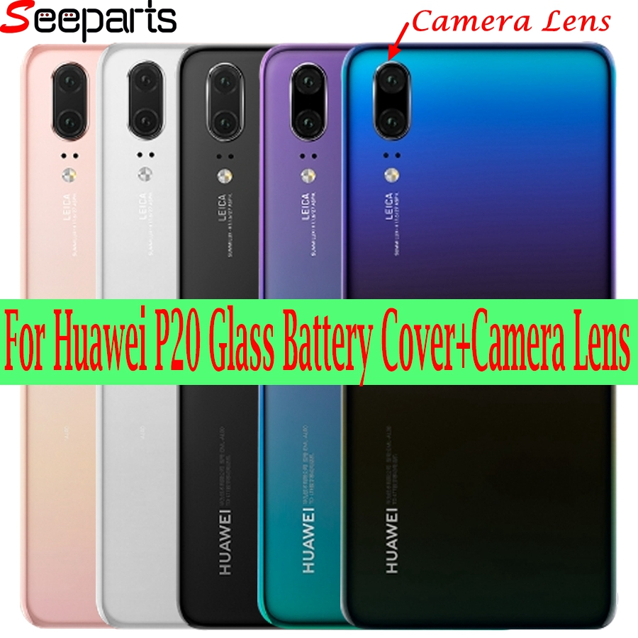 Huawei P20 Back Battery Cover EML L29 L22 Back Glass Door Housing Case For Huawei P20 Battery Cover Rear Panel With Camera Lens