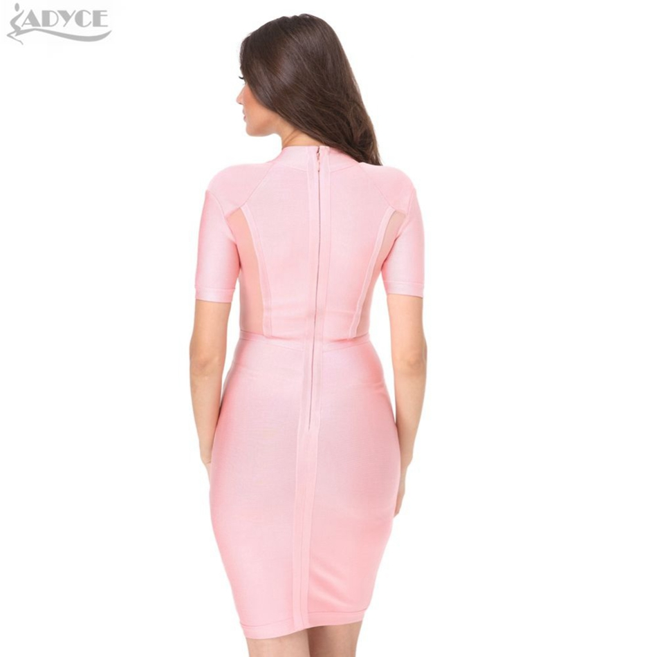 ADYCE 2017 New women Spring dress sexy Mesh High Neck Bandage Dress Pink bodycon party dress celebrity women Vestidos wholesale