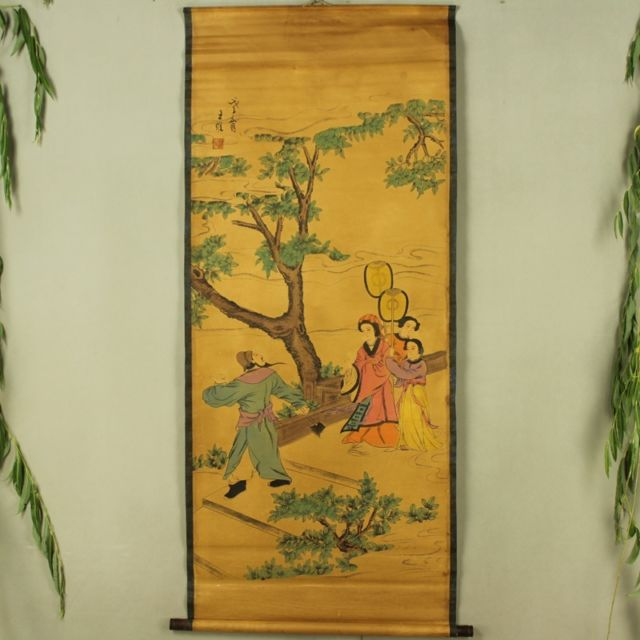 Antique collection Boutique Calligraphy and painting the Wang Wei four people diagramAntique collection Boutique Calligraphy and painting the Wang Wei four people diagram