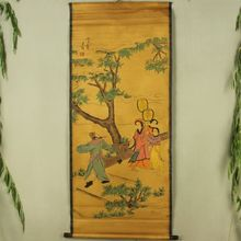 Antique collection Boutique Calligraphy and painting the Wang Wei four people diagram