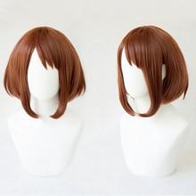 My Hero Academia Boku no Hiro Akademia Uraraka Ochako, corto marrón, Bobo, resistente al calor, disfraz de Cosplay, peluca + gorro de peluca gratis