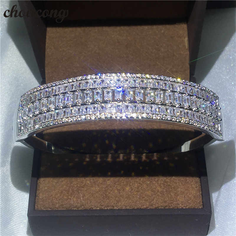 choucong Luxury bracelet Pincess cut 5A cubic zirconia White Gold Filled Party Wedding bangle for women Fashion accessaries