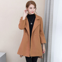 2019 autumn and winter new woolen coat female Korean version of the long paragraph loose beaded temperament woolen coat A293