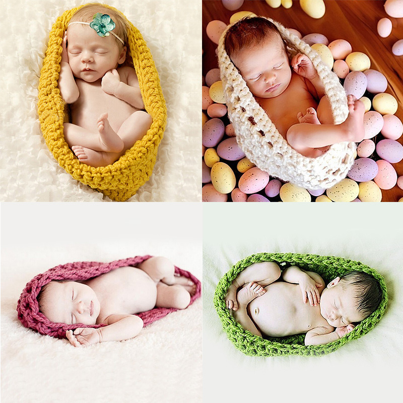 Cute newborn Crochet photograph background new props Baby photo Blanket Soft Knitting  basket Wool Rope for 1-12month old kids