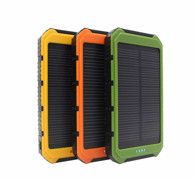 Portabl solar power bank 10000mah Dual-USB Solar Battery Charger Powerbank for Cell Phone