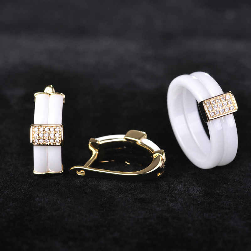 Luxuries Ceramic Jewelry Sets Micro Pave Cubic Zircon Square Earrings Ring Set Ouro Women Copper Wedding Bijoux With Gift Box
