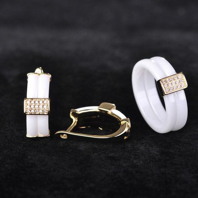 Luxos conjuntos de jóias micro pave cubic zircon brincos quadrados de cerâmica conjunto anel de casamento bijoux mulheres ouro de cobre com caixa de presente