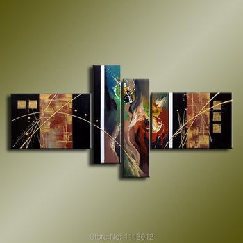 New Modern Knife Line Flower Peacock Oil Painting On Canvas 4 Panel Arts Set Home Wall Decoratiove Picture for Living Room