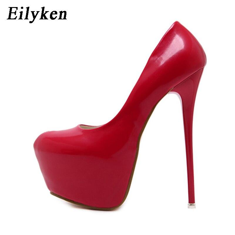 Туфли Eilyken женские на платформе, пикантные свадебные туфли-лодочки с круглым носком, очень высокий каблук, 16 см, черные, красные, весна/осень