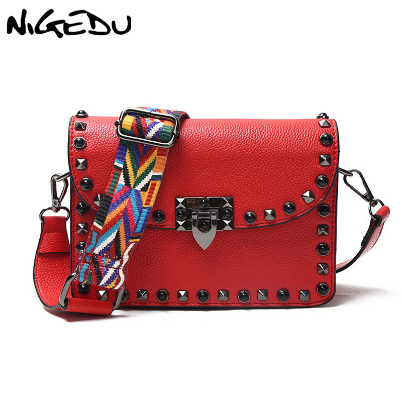 Fashion Rivet Women Messenger Bags small Female Flap Shoulder Bags brand luxury design 2 Wide shoulder straps Messenger Bag red rivet women bags design brands vintage shoulder bag 2018 summer fashion women messenger bags rivet bolsos bolsas