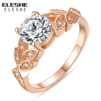 ELESHE Wedding Silver Color Leaf Rings Engagement Gold Color Cubic Zircon Crystal Ring For Women Fashion