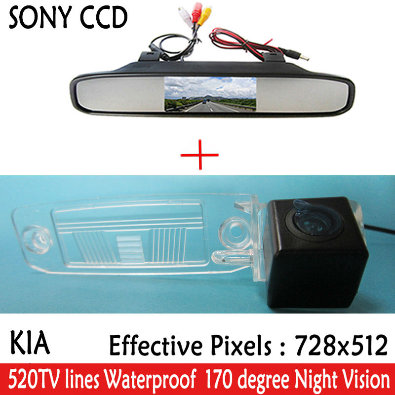 car camera Color Car Rear View SONY CCD Camera with parking lines <font><b>for</b></font> <font><b>Kia</b></font> Sportage R 2010-2014 with 4.3 Inch LCD TFT <font><b>Monitor</b></font>