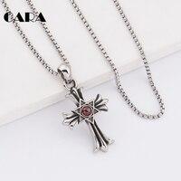 CARA Nieuwe collectie gothic antiek zilver kleur rvs heren ketting crystal decoratieve cross ketting hanger CAGF0207