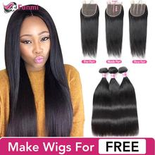 Funmi 5x5 Closure with Bundles Brazilian Straight Virgin Hair with Closure Unprocessed Virgin Human Hair Bundles with Closure