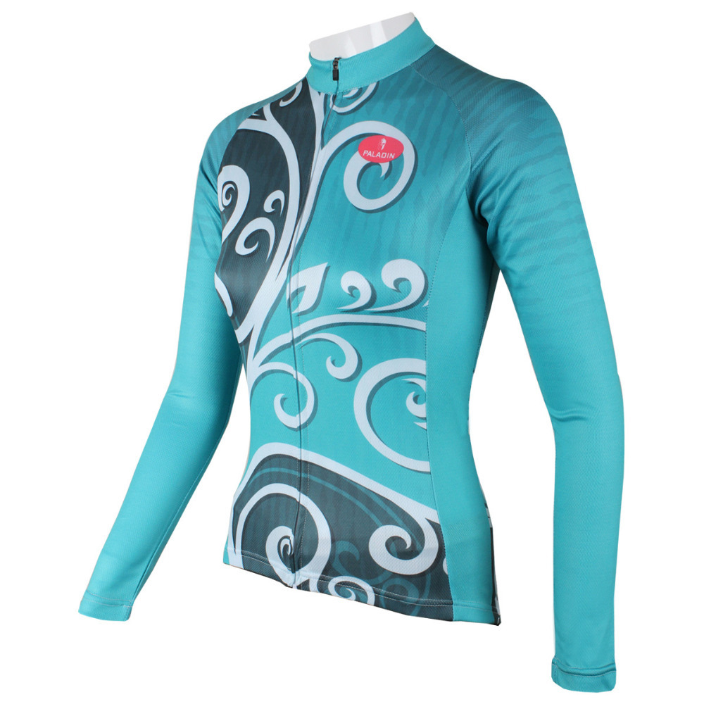 New Design womens cycling jersey Plus size blue long sleeve MTB BMX Road bike jersey for ladies