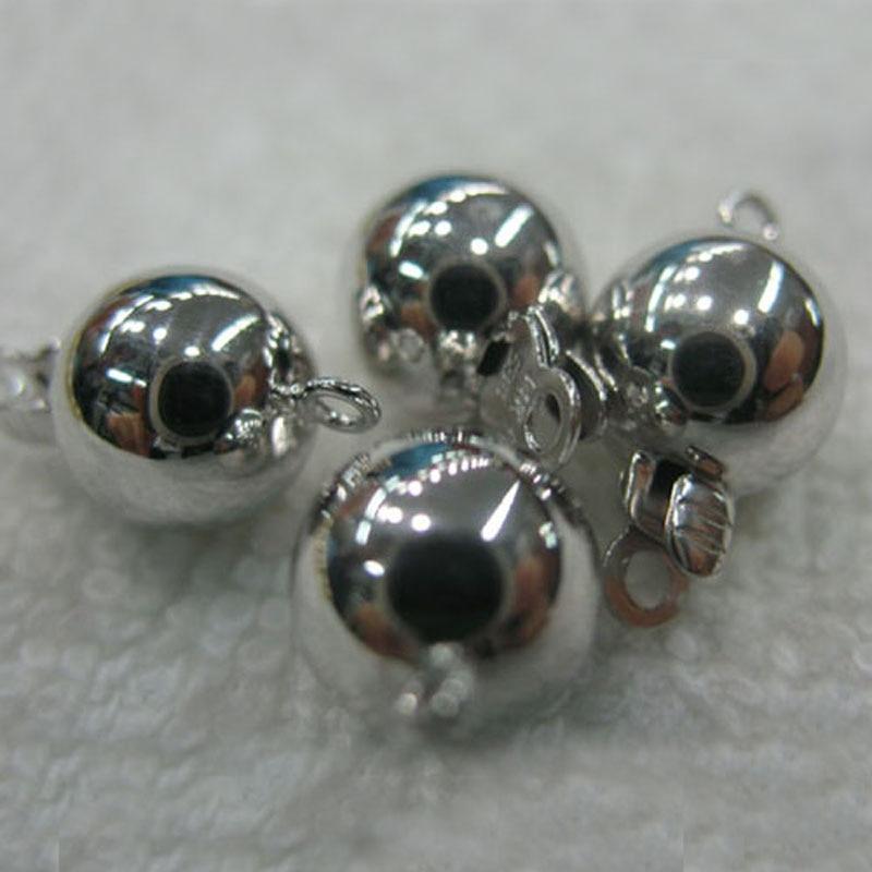 Fermoir à bijoux en forme de boule lisse en or massif blanc 7mm 14 K
