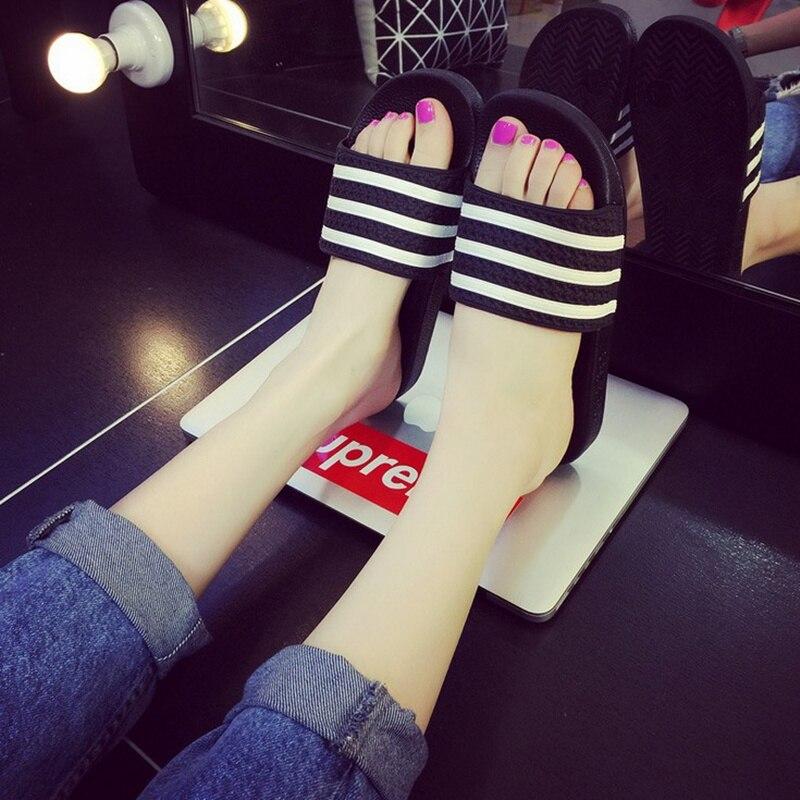 Mazefeng 2018 Summer Slides Women Slippers Men Casual Slippers Summer Unisex Slippers Lovers Slides Three Stripe Outdoor Shoes