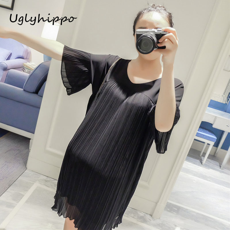 New Arrival 2017 Pregnant Women Summer Ruffle Sleeve Chiffon Maternity Party Dress Elega ...
