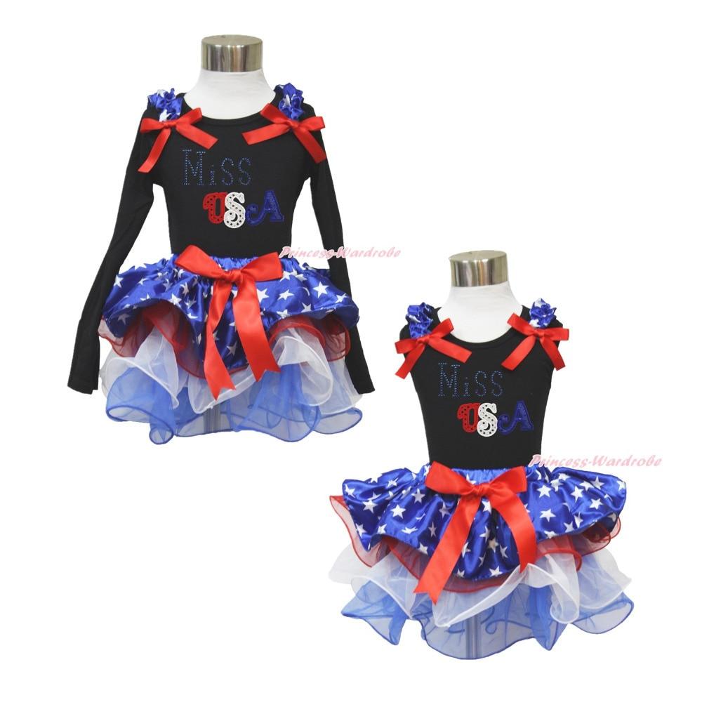 ФОТО 4th july rhinestone miss usa black top patriotic star petal pettiskirt set nb-8y mapsa0577