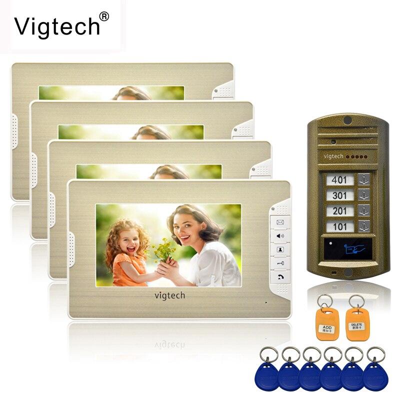 Vigtech 7 ''cor vídeo porteiro 4 monitores com 1 intercomunicador campainha pode controlar 4 casas para multi apartamento RFID câmera